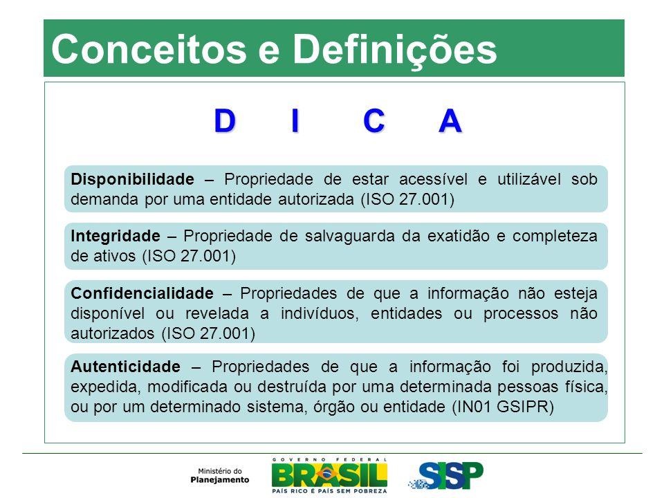 Conceitos e Definições Disponibilidade – Propriedade de estar acessível e utilizável sob demanda por uma entidade autorizada (ISO 27.001) Integridade