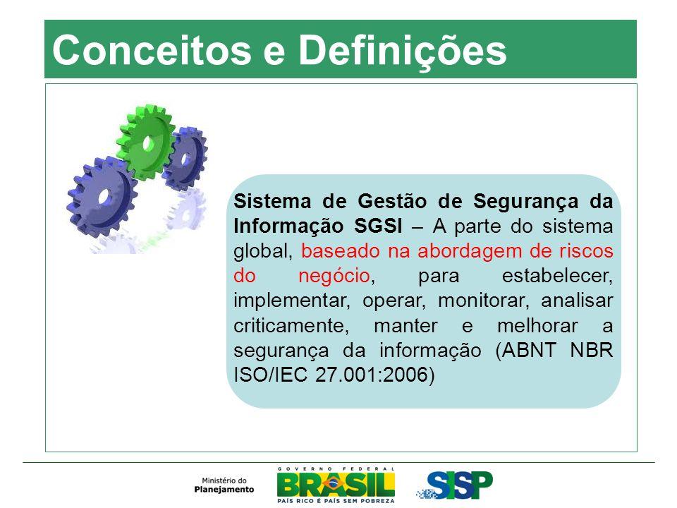Conceitos e Definições Sistema de Gestão de Segurança da Informação SGSI – A parte do sistema global, baseado na abordagem de riscos do negócio, para