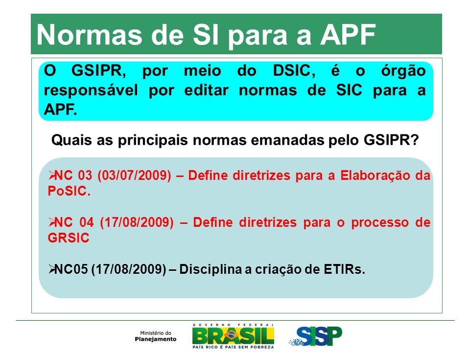 Normas de SI para a APF O GSIPR, por meio do DSIC, é o órgão responsável por editar normas de SIC para a APF. Quais as principais normas emanadas pelo
