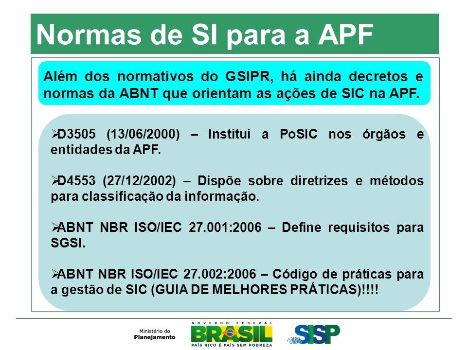 Normas de SI para a APF Além dos normativos do GSIPR, há ainda decretos e normas da ABNT que orientam as ações de SIC na APF. D3505 (13/06/2000) – Ins