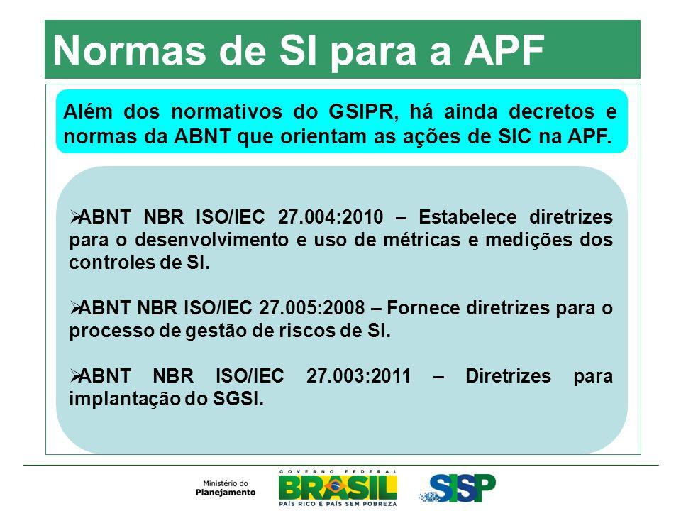 Normas de SI para a APF Além dos normativos do GSIPR, há ainda decretos e normas da ABNT que orientam as ações de SIC na APF. ABNT NBR ISO/IEC 27.004: