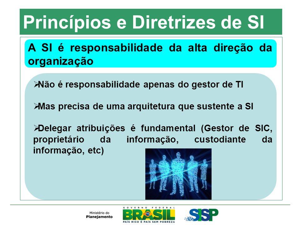 Princípios e Diretrizes de SI A SI é responsabilidade da alta direção da organização Não é responsabilidade apenas do gestor de TI Mas precisa de uma