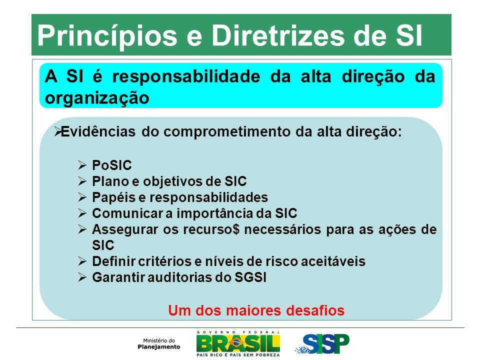 Princípios e Diretrizes de SI A SI é responsabilidade da alta direção da organização Evidências do comprometimento da alta direção: PoSIC Plano e obje