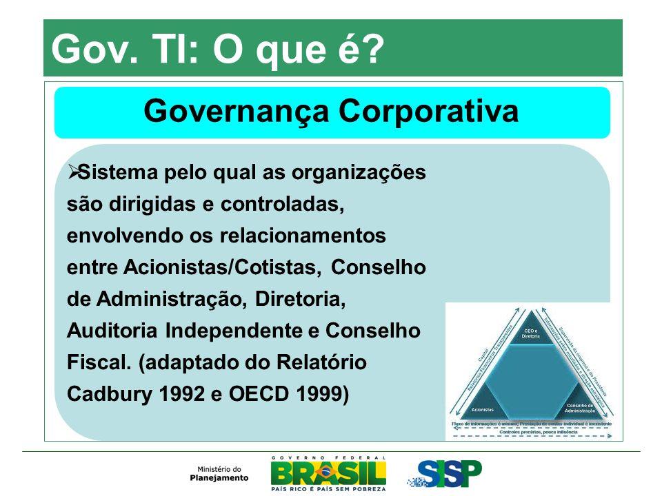 Gov. TI: O que é? Governança Corporativa Sistema pelo qual as organizações são dirigidas e controladas, envolvendo os relacionamentos entre Acionistas