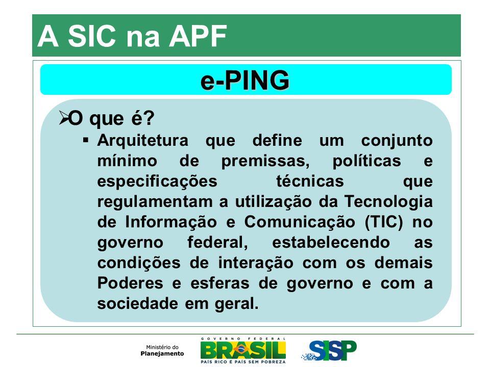 A SIC na APF e-PING O que é? Arquitetura que define um conjunto mínimo de premissas, políticas e especificações técnicas que regulamentam a utilização