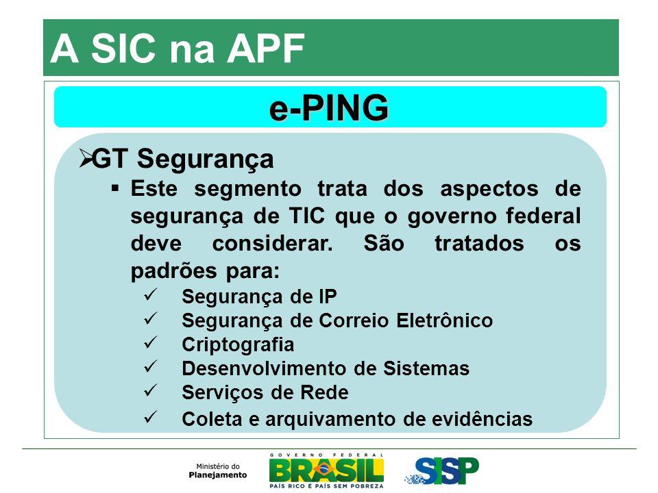 A SIC na APF e-PING GT Segurança Este segmento trata dos aspectos de segurança de TIC que o governo federal deve considerar. São tratados os padrões p