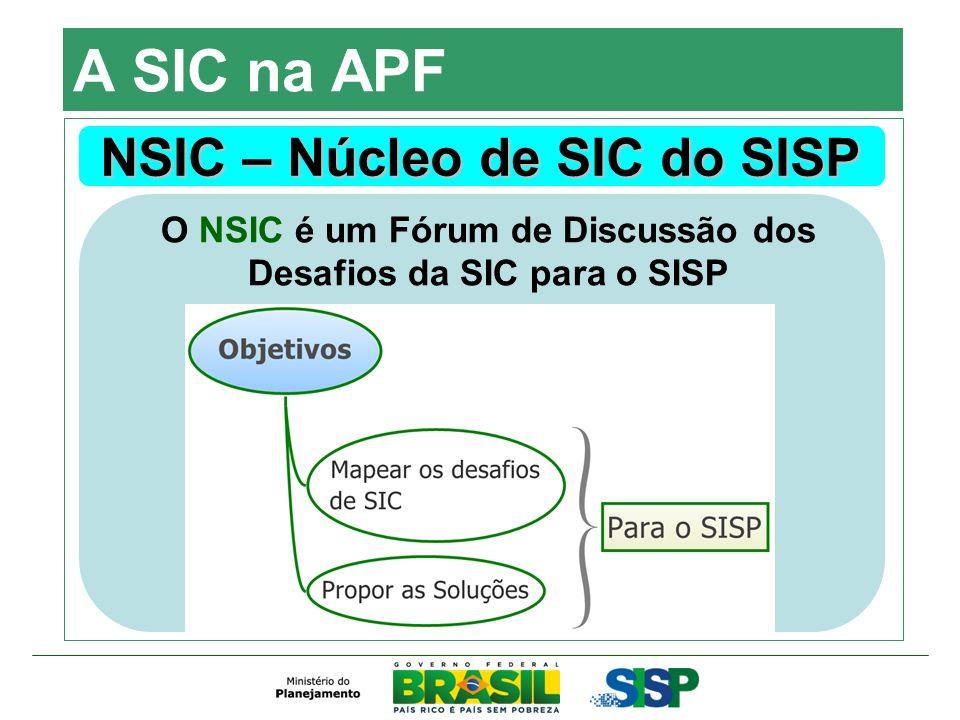 A SIC na APF NSIC – Núcleo de SIC do SISP O NSIC é um Fórum de Discussão dos Desafios da SIC para o SISP