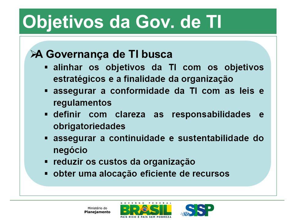 Objetivos da Gov. de TI A Governança de TI busca alinhar os objetivos da TI com os objetivos estratégicos e a finalidade da organização assegurar a co