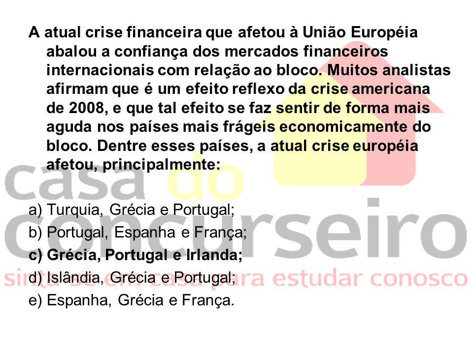 A atual crise financeira que afetou à União Européia abalou a confiança dos mercados financeiros internacionais com relação ao bloco. Muitos analistas
