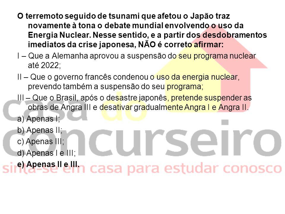 O terremoto seguido de tsunami que afetou o Japão traz novamente à tona o debate mundial envolvendo o uso da Energia Nuclear. Nesse sentido, e a parti