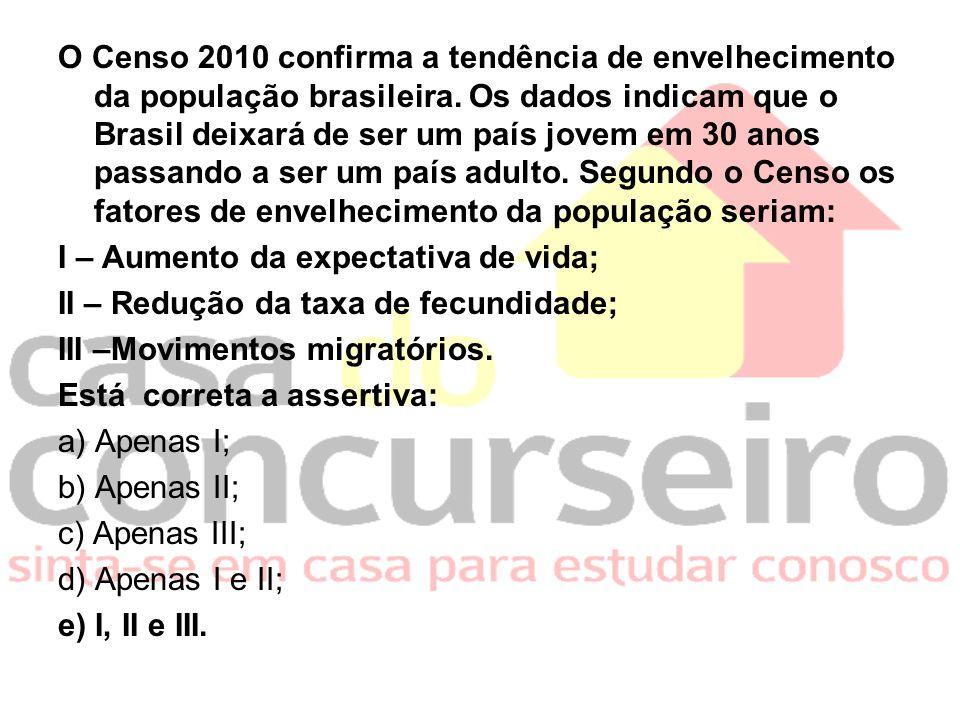 O Censo 2010 confirma a tendência de envelhecimento da população brasileira. Os dados indicam que o Brasil deixará de ser um país jovem em 30 anos pas