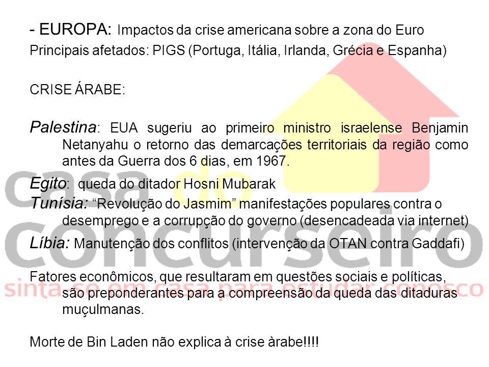 - EUROPA: Impactos da crise americana sobre a zona do Euro Principais afetados: PIGS (Portuga, Itália, Irlanda, Grécia e Espanha) CRISE ÁRABE: Palesti