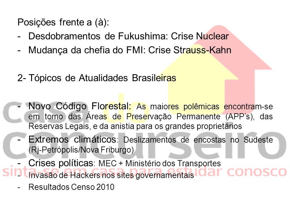 Posições frente a (à): -Desdobramentos de Fukushima: Crise Nuclear -Mudança da chefia do FMI: Crise Strauss-Kahn 2- Tópicos de Atualidades Brasileiras
