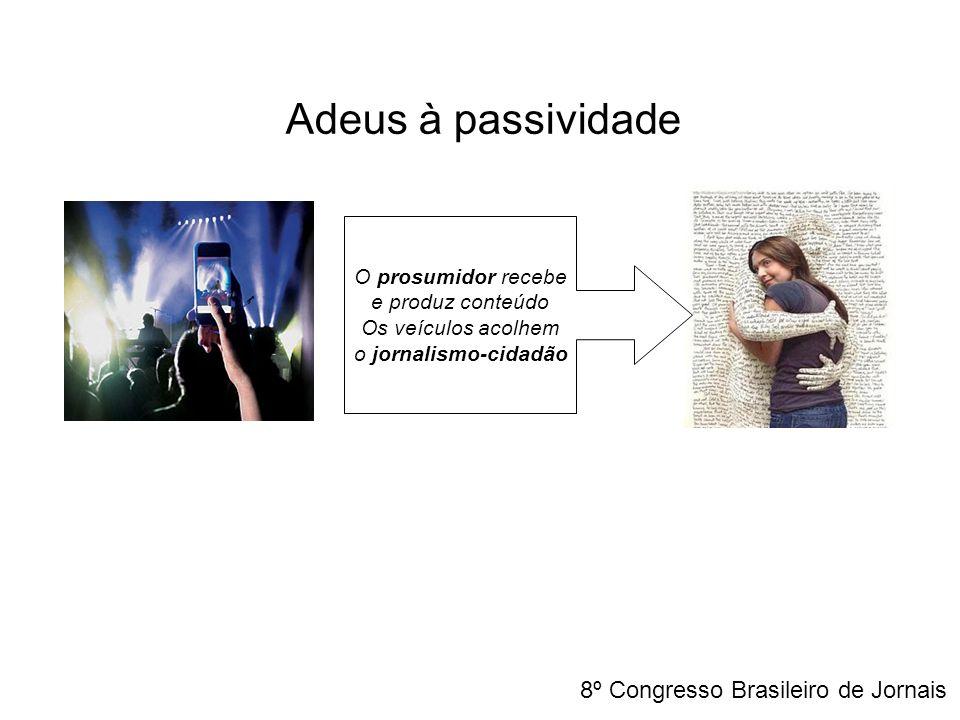 O prosumidor recebe e produz conteúdo Os veículos acolhem o jornalismo-cidadão Adeus à passividade 8º Congresso Brasileiro de Jornais