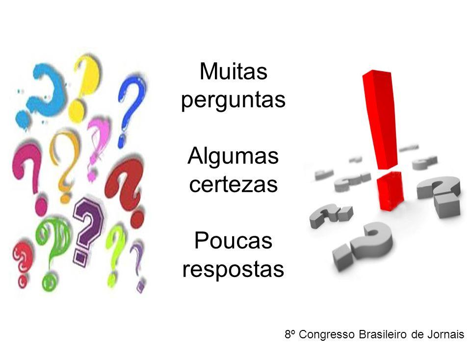 Muitas perguntas Algumas certezas Poucas respostas 8º Congresso Brasileiro de Jornais