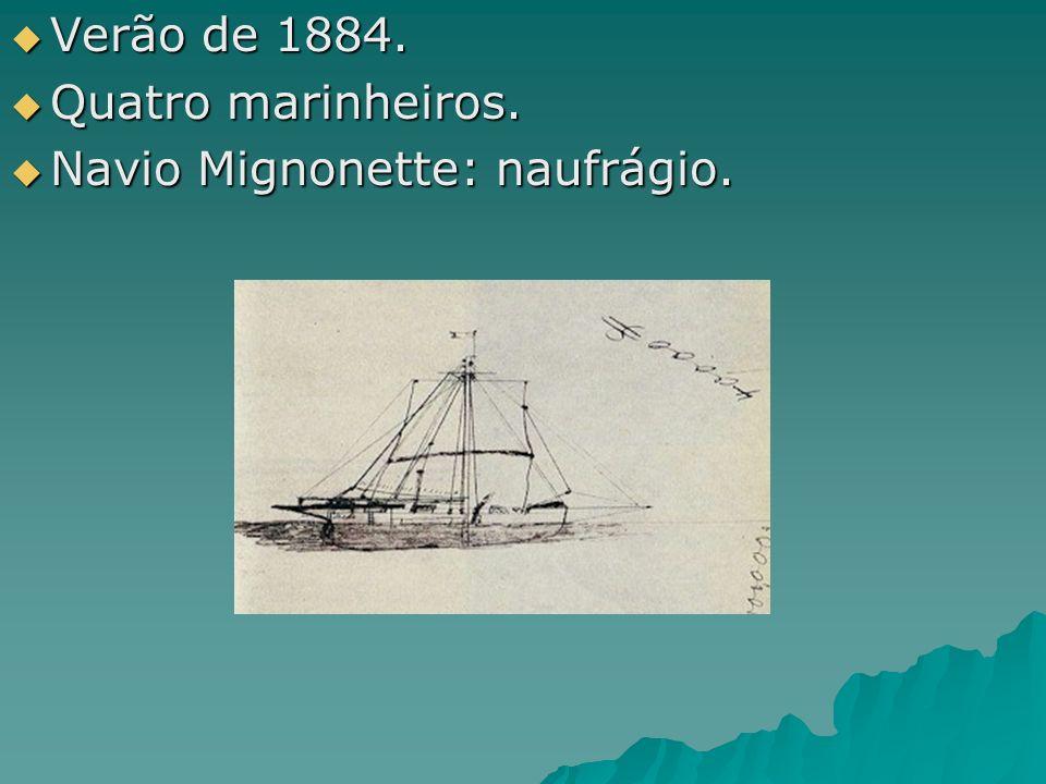 Verão de 1884. Verão de 1884. Quatro marinheiros. Quatro marinheiros. Navio Mignonette: naufrágio. Navio Mignonette: naufrágio.