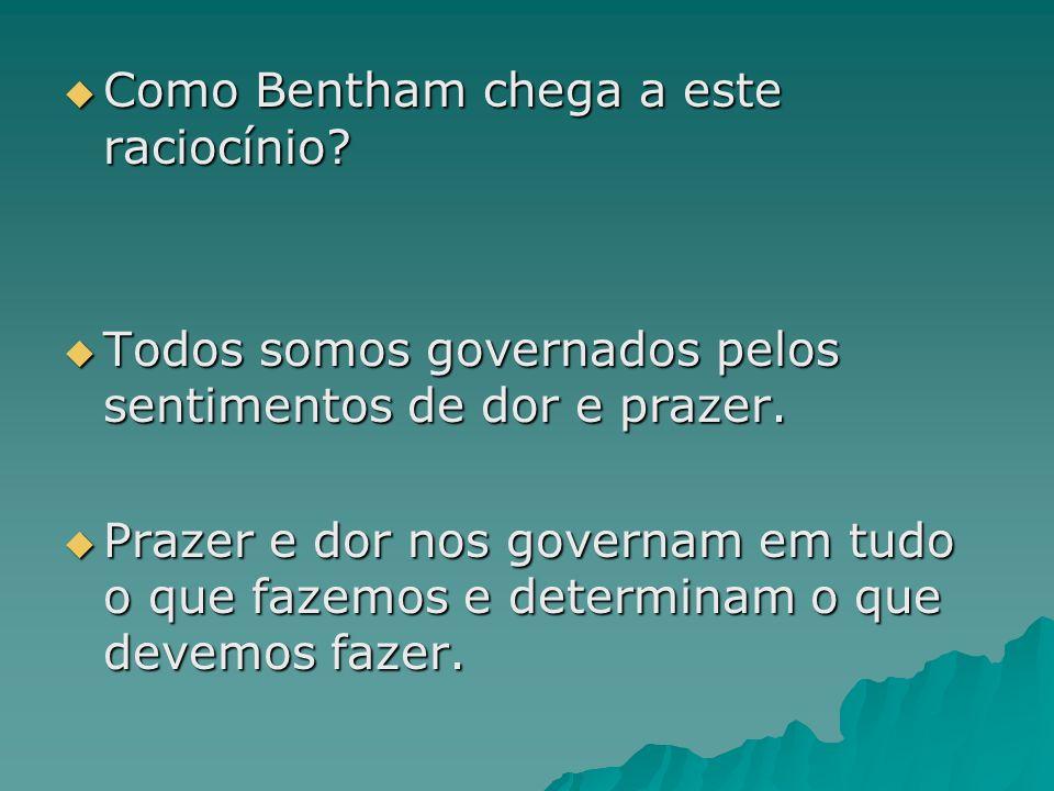 Como Bentham chega a este raciocínio? Como Bentham chega a este raciocínio? Todos somos governados pelos sentimentos de dor e prazer. Todos somos gove