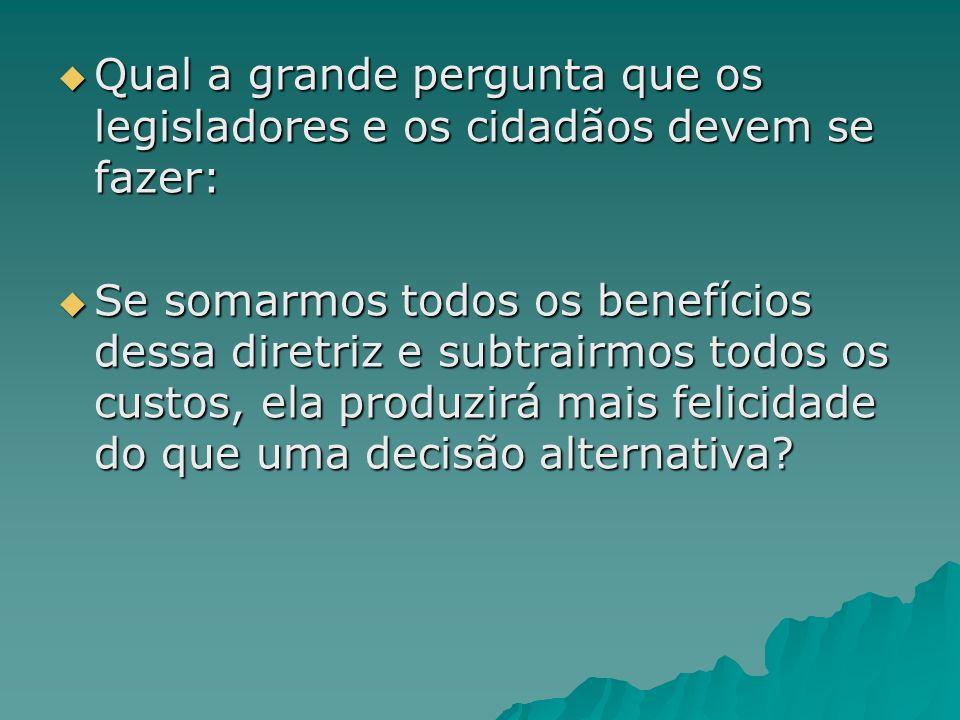 Qual a grande pergunta que os legisladores e os cidadãos devem se fazer: Qual a grande pergunta que os legisladores e os cidadãos devem se fazer: Se s