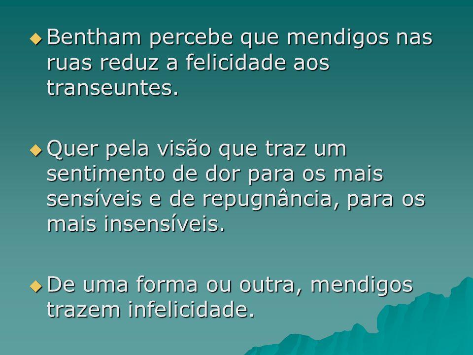 Bentham percebe que mendigos nas ruas reduz a felicidade aos transeuntes. Bentham percebe que mendigos nas ruas reduz a felicidade aos transeuntes. Qu