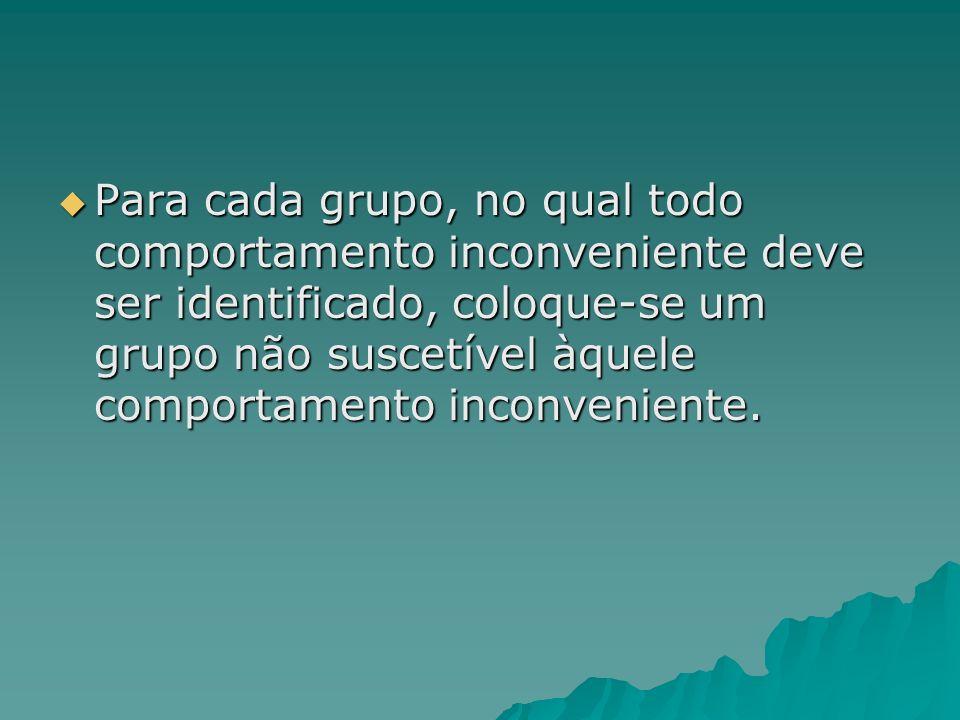 Para cada grupo, no qual todo comportamento inconveniente deve ser identificado, coloque-se um grupo não suscetível àquele comportamento inconveniente