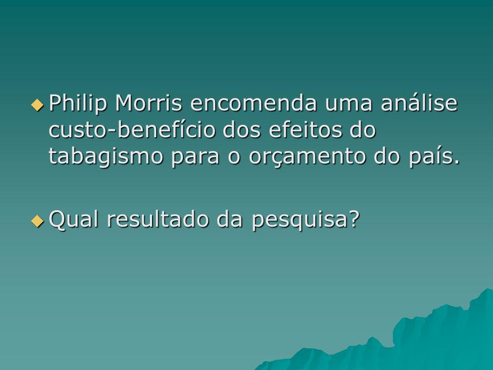 Philip Morris encomenda uma análise custo-benefício dos efeitos do tabagismo para o orçamento do país. Philip Morris encomenda uma análise custo-benef