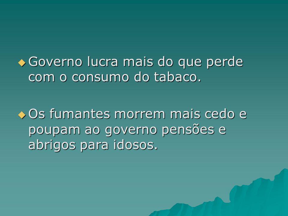 Governo lucra mais do que perde com o consumo do tabaco. Governo lucra mais do que perde com o consumo do tabaco. Os fumantes morrem mais cedo e poupa