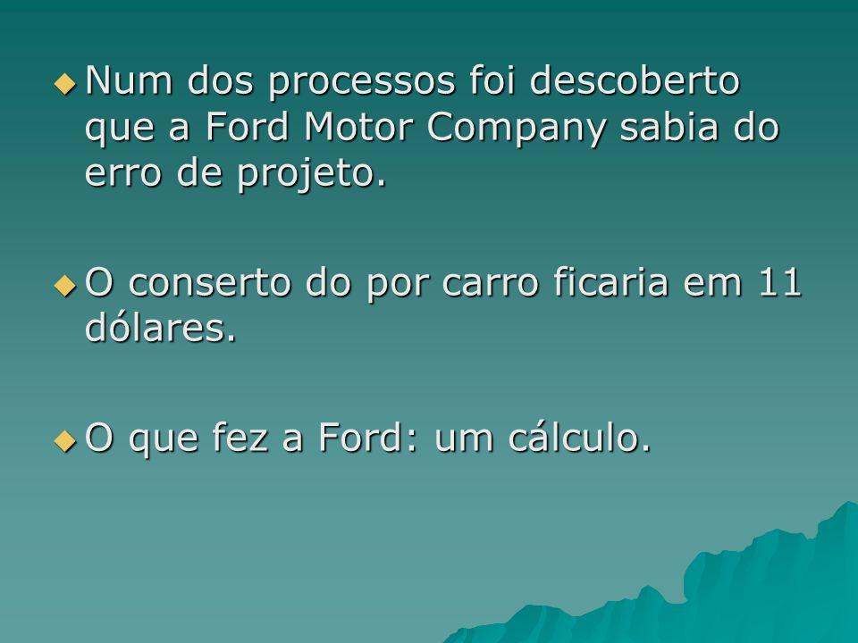 Num dos processos foi descoberto que a Ford Motor Company sabia do erro de projeto. Num dos processos foi descoberto que a Ford Motor Company sabia do