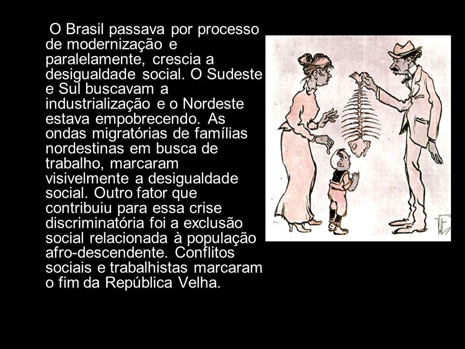 O Brasil passava por processo de modernização e paralelamente, crescia a desigualdade social. O Sudeste e Sul buscavam a industrialização e o Nordeste