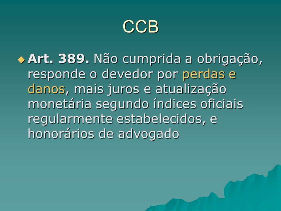 CCB Art. 389. Não cumprida a obrigação, responde o devedor por perdas e danos, mais juros e atualização monetária segundo índices oficiais regularment