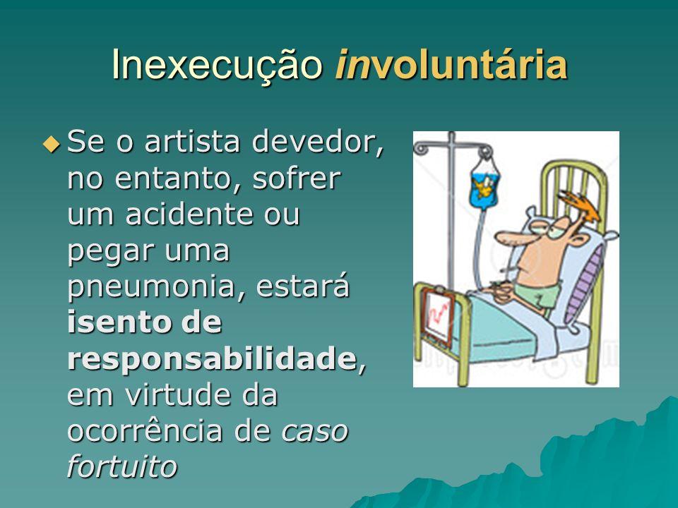 Inexecução involuntária Se o artista devedor, no entanto, sofrer um acidente ou pegar uma pneumonia, estará isento de responsabilidade, em virtude da