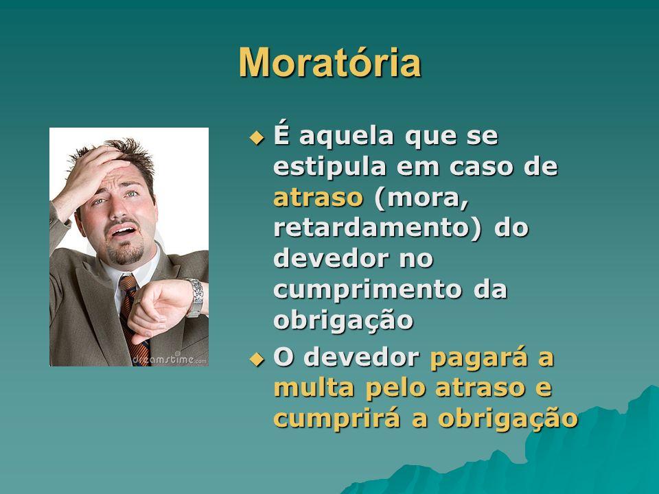 Moratória É aquela que se estipula em caso de atraso (mora, retardamento) do devedor no cumprimento da obrigação É aquela que se estipula em caso de a