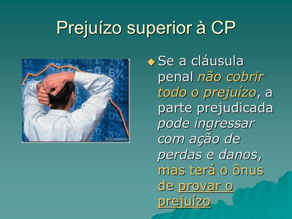 Prejuízo superior à CP Se a cláusula penal não cobrir todo o prejuízo, a parte prejudicada pode ingressar com ação de perdas e danos, mas terá o ônus
