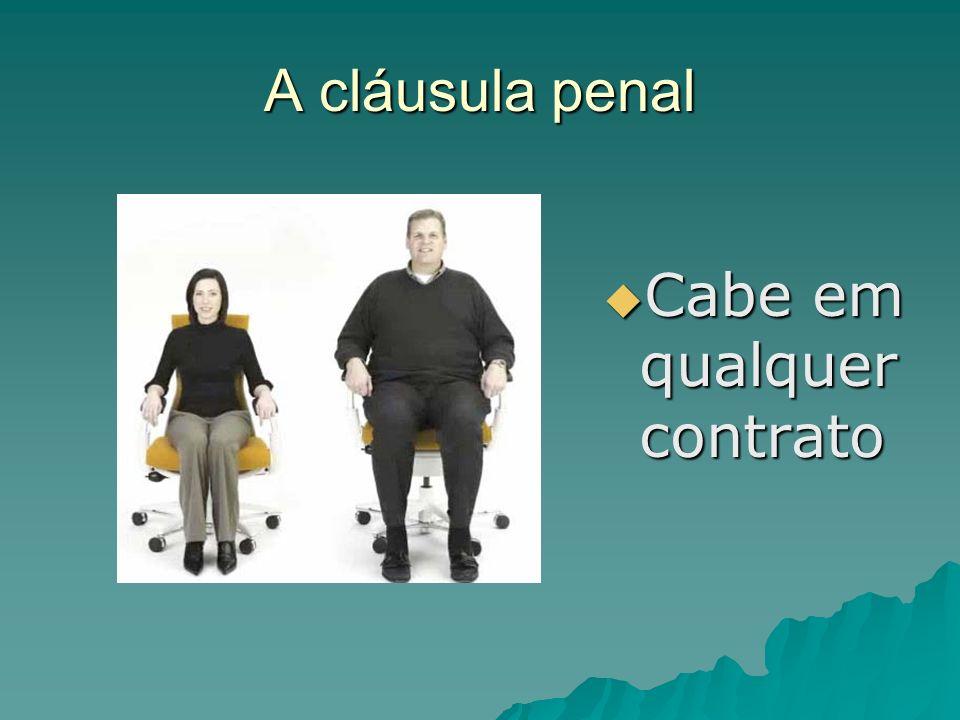 A cláusula penal Cabe em qualquer contrato Cabe em qualquer contrato