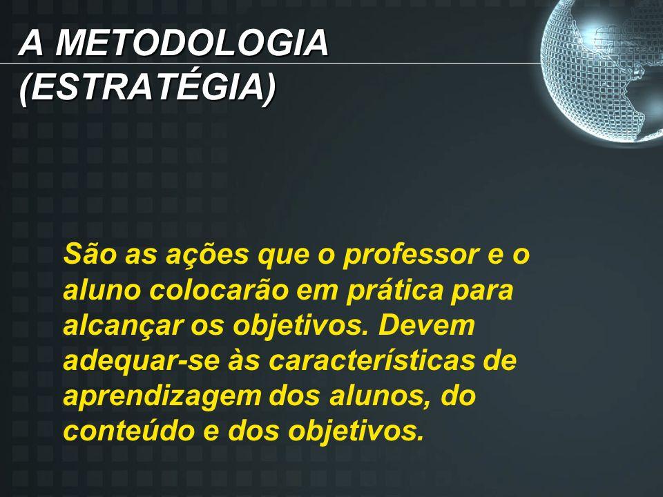 A METODOLOGIA (ESTRATÉGIA) São as ações que o professor e o aluno colocarão em prática para alcançar os objetivos.