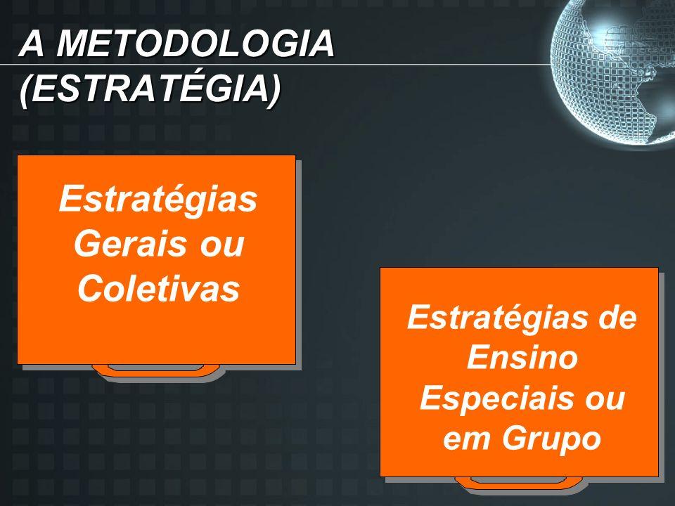 A METODOLOGIA (ESTRATÉGIA) Estratégias Gerais ou Coletivas Estratégias de Ensino Especiais ou em Grupo