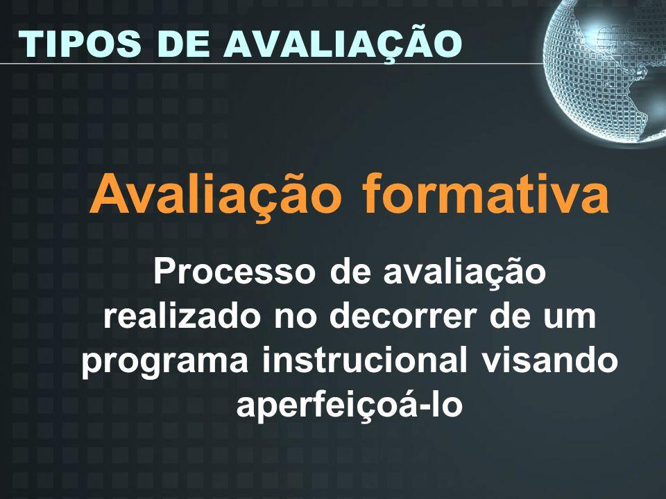 TIPOS DE AVALIAÇÃO Avaliação formativa Processo de avaliação realizado no decorrer de um programa instrucional visando aperfeiçoá-lo