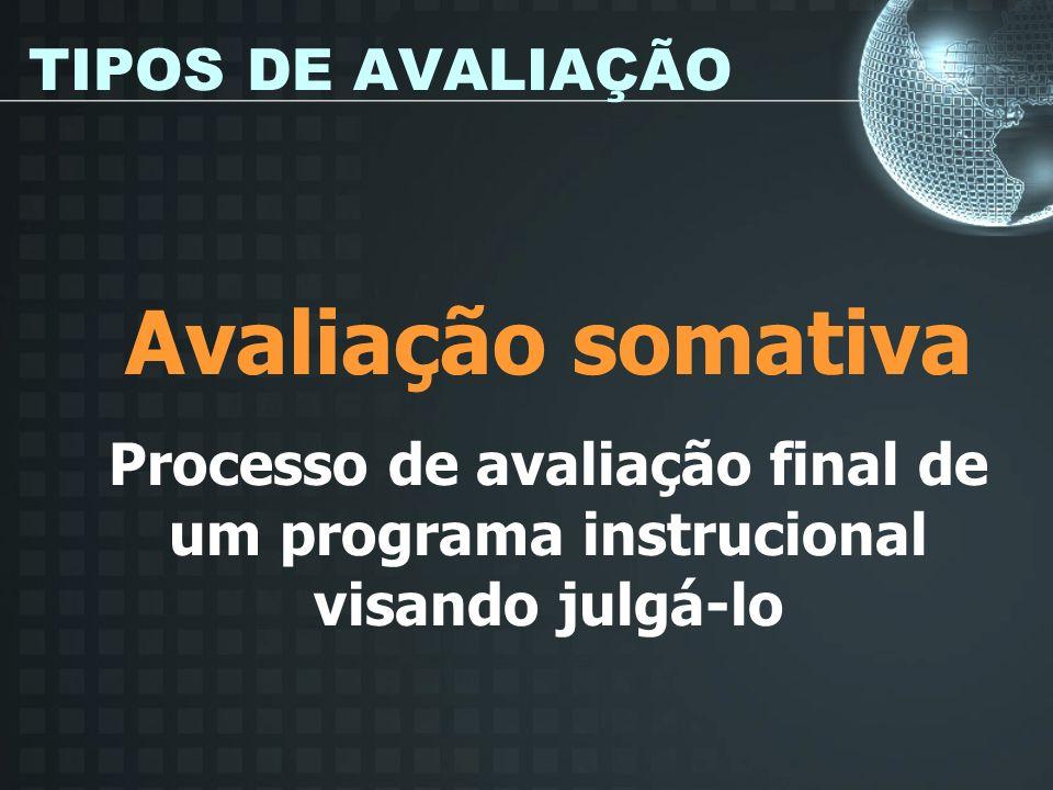 TIPOS DE AVALIAÇÃO Avaliação somativa Processo de avaliação final de um programa instrucional visando julgá-lo
