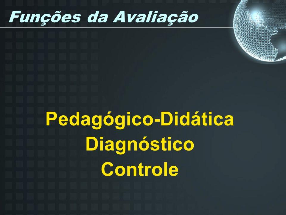 Funções da Avaliação Pedagógico-Didática Diagnóstico Controle