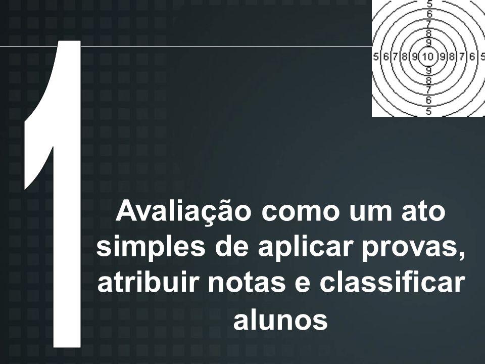 Avaliação como um ato simples de aplicar provas, atribuir notas e classificar alunos