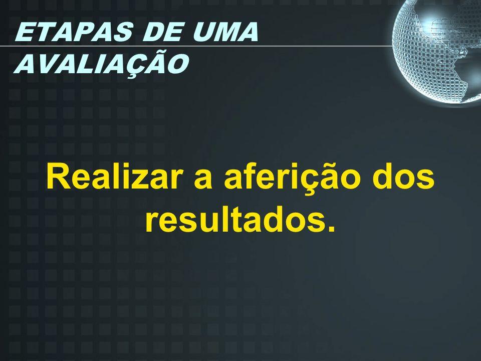ETAPAS DE UMA AVALIAÇÃO Realizar a aferição dos resultados.