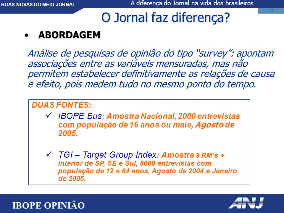 BOAS NOVAS DO MEIO JORNAL 36 Opiniões sobre o papel do Jornal na vida do leitor IBOPE OPINIÃO A diferença do Jornal na vida dos brasileiros
