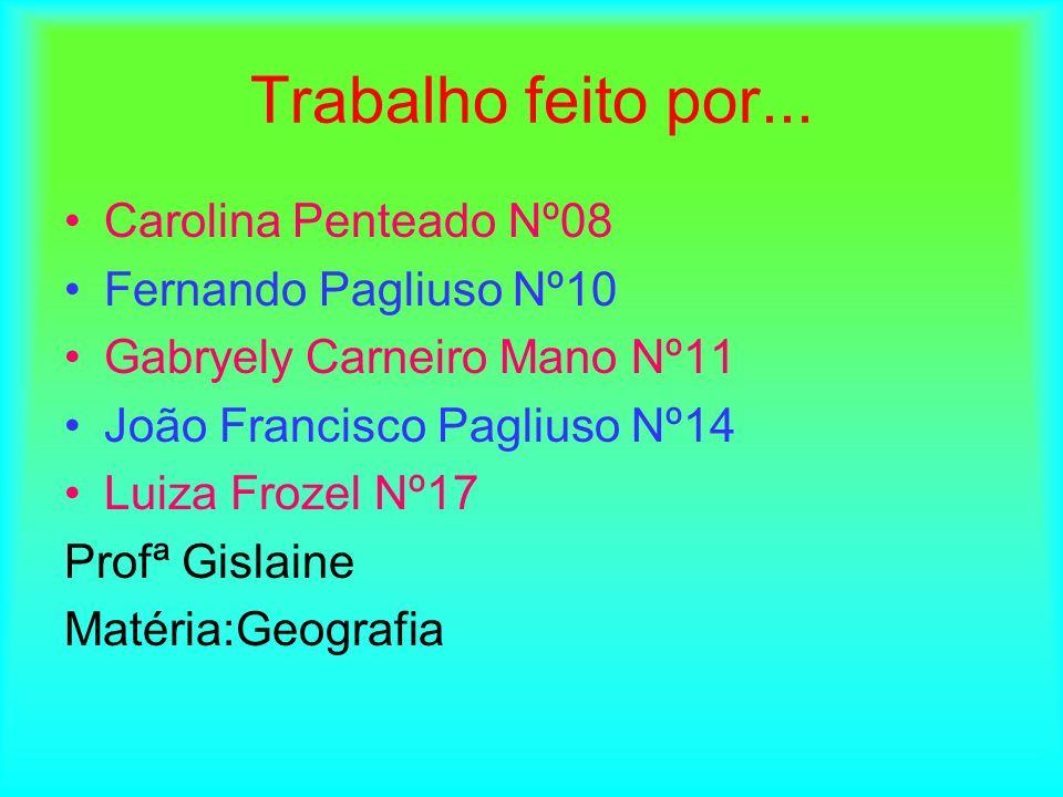 Trabalho feito por... Carolina Penteado Nº08 Fernando Pagliuso Nº10 Gabryely Carneiro Mano Nº11 João Francisco Pagliuso Nº14 Luiza Frozel Nº17 Profª G