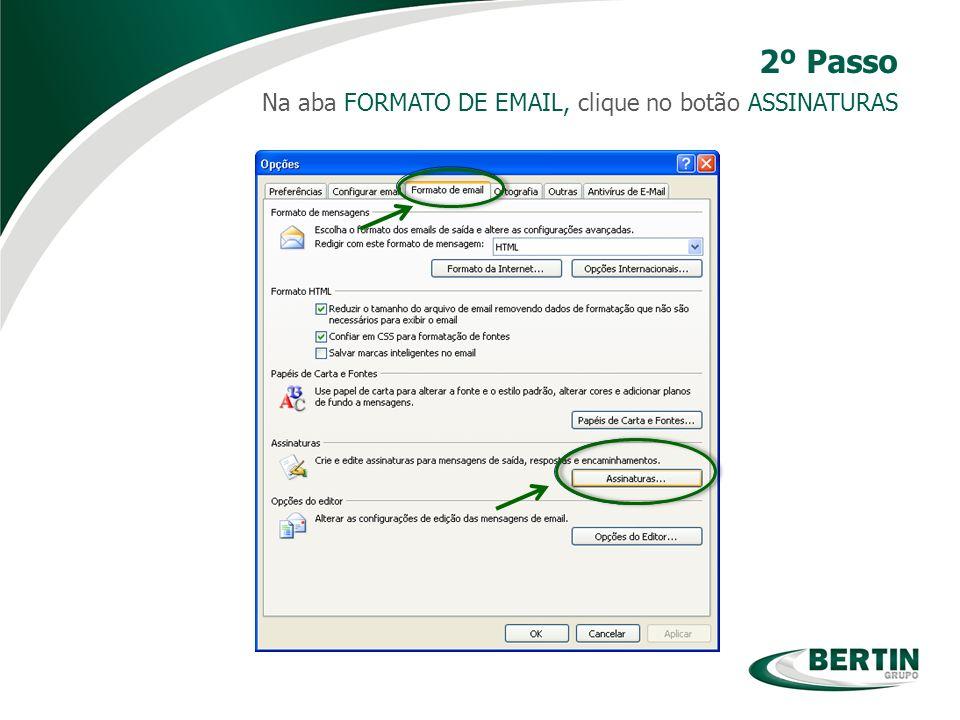 Na aba FORMATO DE EMAIL, clique no botão ASSINATURAS 2º Passo