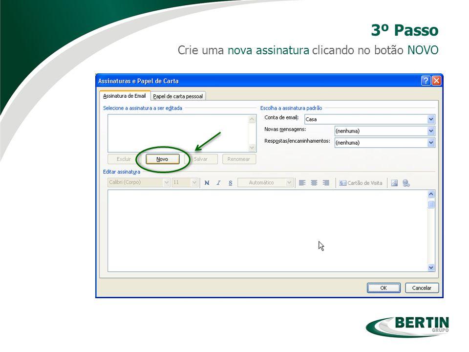 Crie uma nova assinatura clicando no botão NOVO 3º Passo