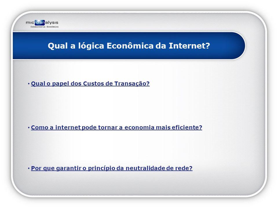 Qual a lógica Econômica da Internet. Qual o papel dos Custos de Transação.