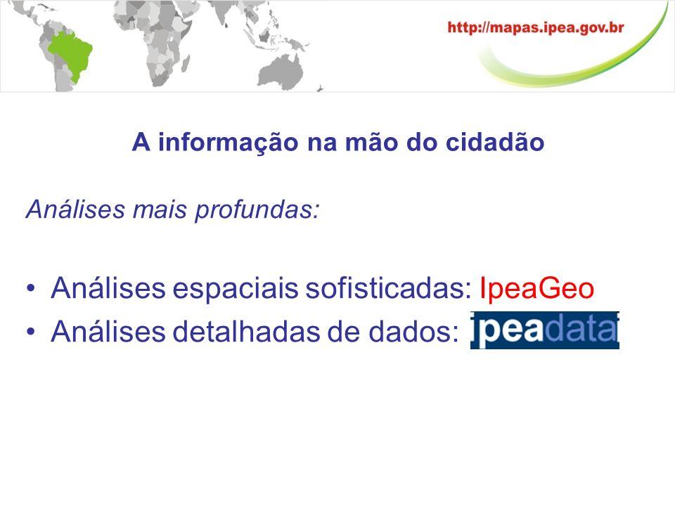 Integração de dados http://www.ipeadata.gov.brhttp://www.ipeadata.gov.br – acesso a bases de dados IpeaGeo – análise espacial de dados Conexão remota a bases de dados