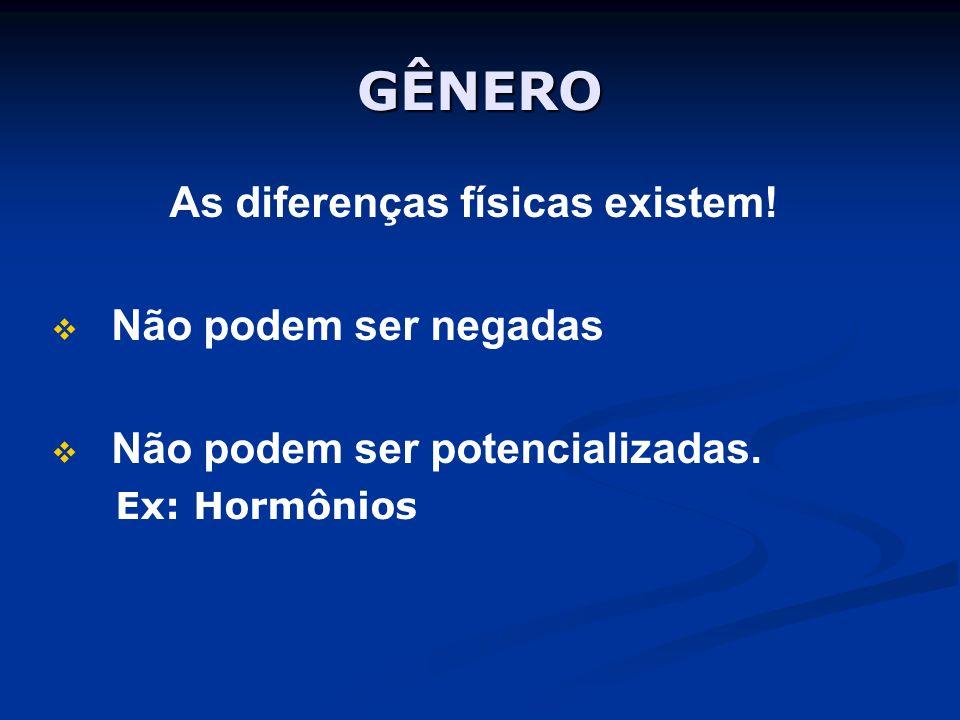GÊNERO As diferenças físicas existem! Não podem ser negadas Não podem ser potencializadas. Ex: Hormônios