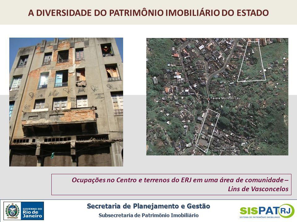Ocupações no Centro e terrenos do ERJ em uma área de comunidade – Lins de Vasconcelos Secretaria de Planejamento e Gestão Subsecretaria de Patrimônio