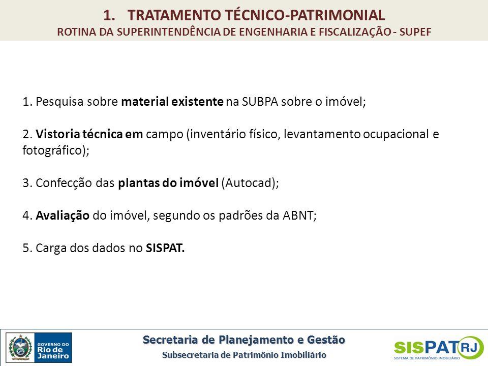 1. Pesquisa sobre material existente na SUBPA sobre o imóvel; 2. Vistoria técnica em campo (inventário físico, levantamento ocupacional e fotográfico)