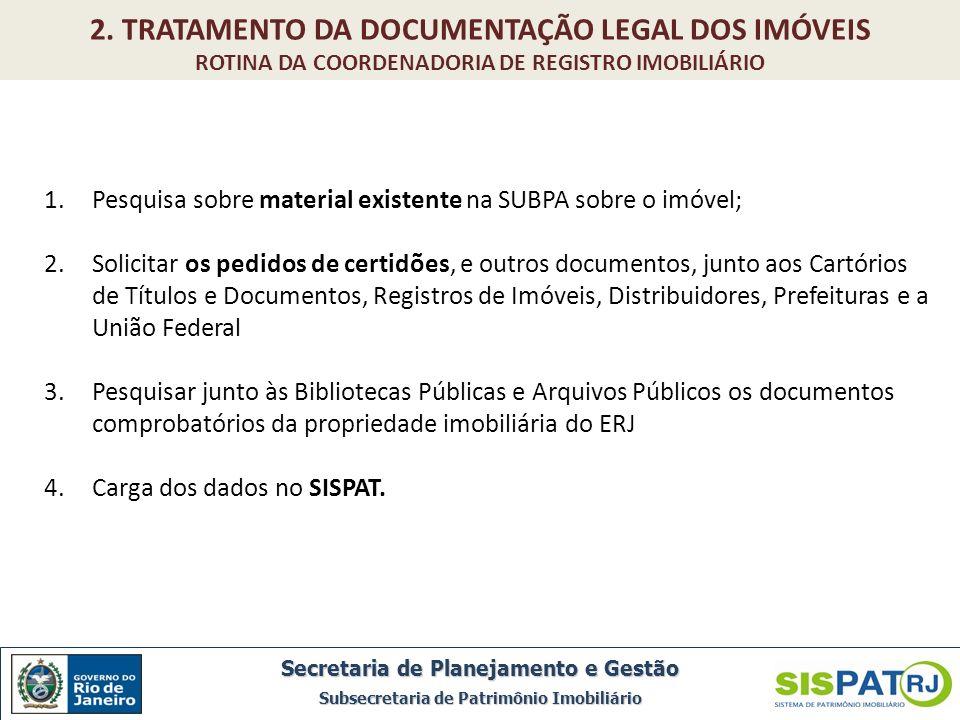 1.Pesquisa sobre material existente na SUBPA sobre o imóvel; 2.Solicitar os pedidos de certidões, e outros documentos, junto aos Cartórios de Títulos